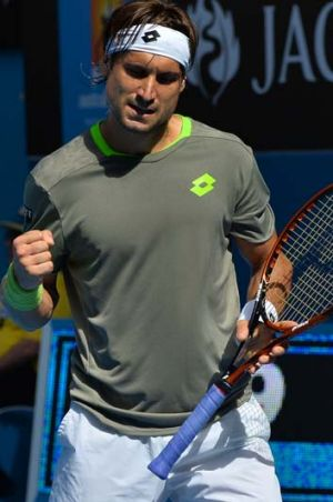 David Ferrer of Spain urges himself on during his match against Florian Mayer of Germany.