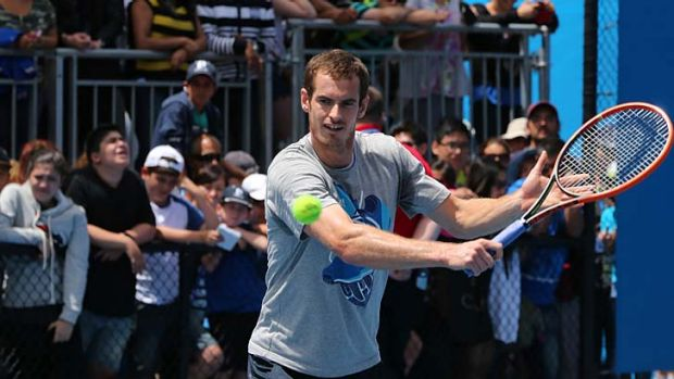 Andy Murray trains on Sunday.