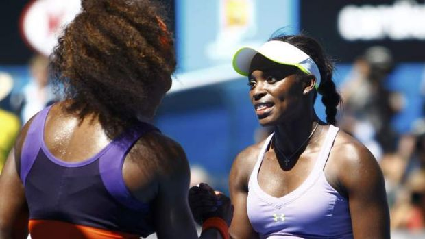 Time to celebrate? Sloane Stephens (right) and Serena Williams at the 2013 Australian Open.