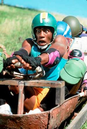 "A scene from the 1993 film ""Cool Runnings"" which is loosely based on the feats of the Jamaican bobsleigh team at the ..."