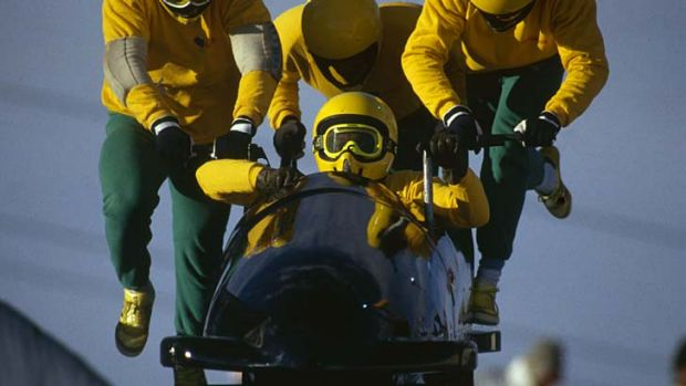 The Jamaican team in action at the 1988 Calgary Olympics.