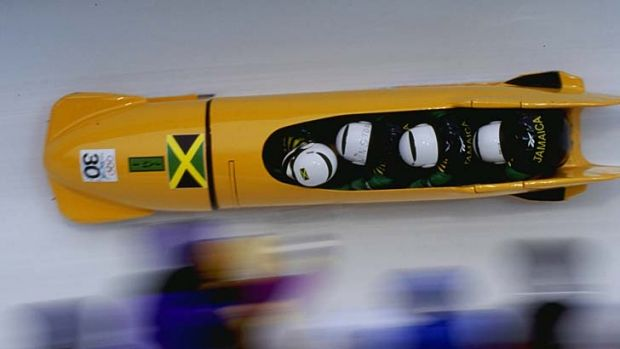 Winston Watt (second left) competes in the four-man bobsleigh at the Nagano Olympics in 1998.