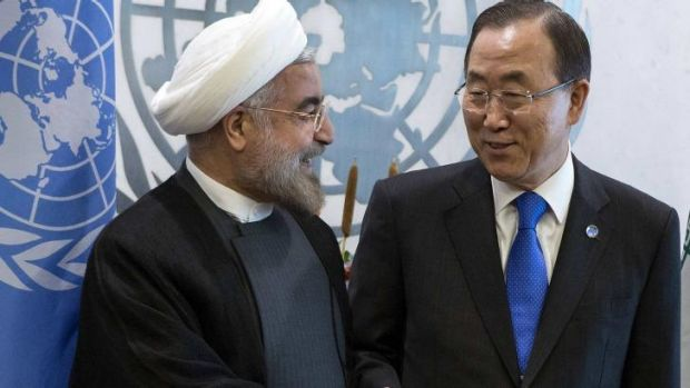 United Nations Secretary-General Ban Ki-moon greets Iran's President Hassan Rohani during the UN General Assembly in  ...
