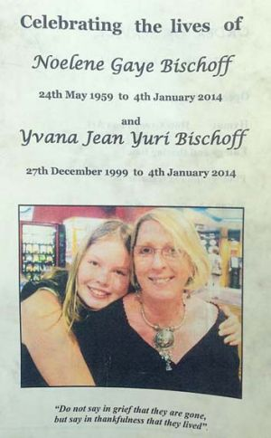 The cover of the booklet used at Yvana and Noelene Bischoff's funeral in Gatton.