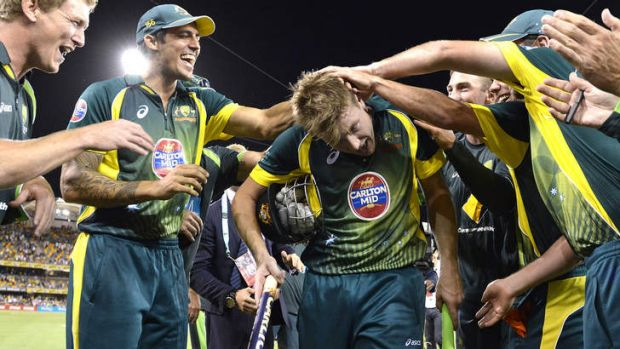 That's entertainment: James Faulkner is cheered off after reviving memories of the golden days of one-day cricket with a ...