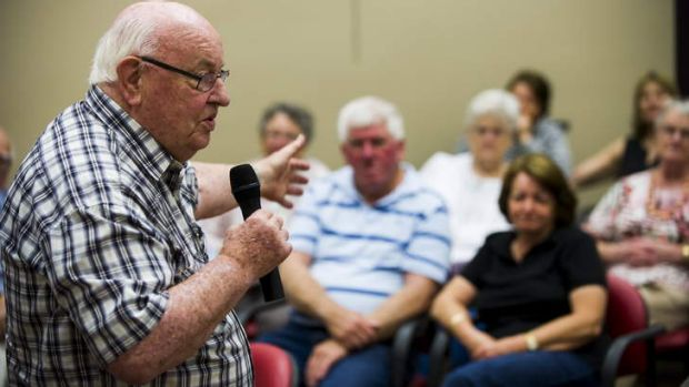 Father Bob Maguire speaks to residents and friends at the Calvary Retirement Community.