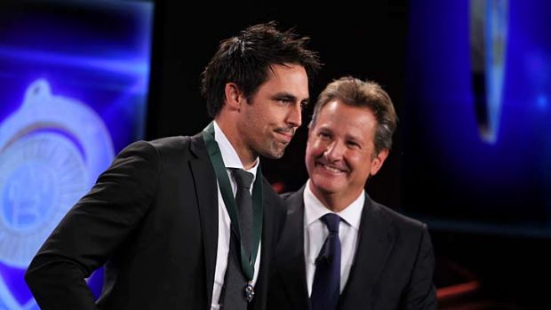 Mitchell Johnson with compere Mark Nicholas at the Allan Border Medal ceremony on Monday.