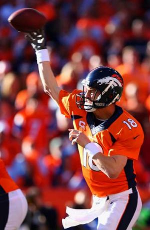 Peyton Manning threw two touchdown passes for the Broncos.