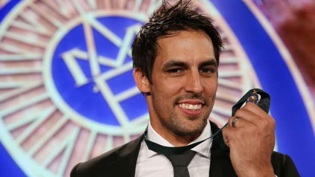 Just reward: Mitchell Johnson holds his Allan Border Medal, the icing on what has been an incredible return to form.