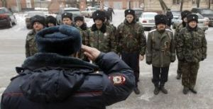 Increased security: Russian Cossacks in the southern Russian city of Volgograd.
