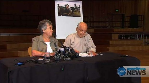 Peter Greste's parents Lois and Juris speak to the media in Brisbane.