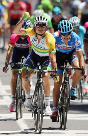 Gerrans clenches his fist in triumph after crossed the finish line of the first stage of the Tour Down Under.