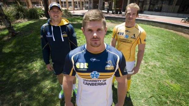 The Brumbies' 2014 Super Rugby strip modelled by Jesse Mogg, Ruaidhri Murphy and Pat McCabe.