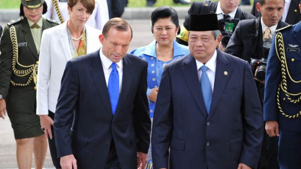 Happier times: Prime Minister Tony Abbott with Indonesia's President Susilo Bambang Yudhoyono during a visit to Jakarta ...