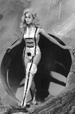 Jane Fonda performs in the 1968 film <i>Barbarella</i>.
