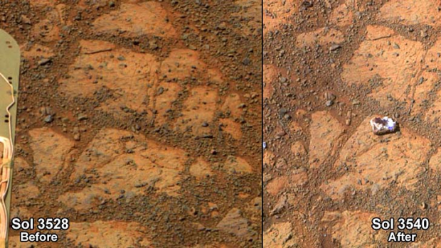 The surface of Mars in front of the rover on December 26, 2013 (left) and on January 8, 2014 (right).