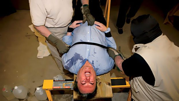 Writer Christopher Hitchens submits himself to waterboarding.