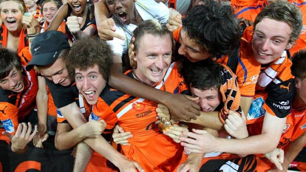 Happier times ... Roar fans have embraced Besart Berisha during his time in Brisbane.
