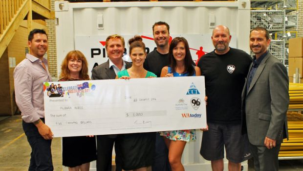 Staff from Pilbara Access with the 96FM Breakfast team.