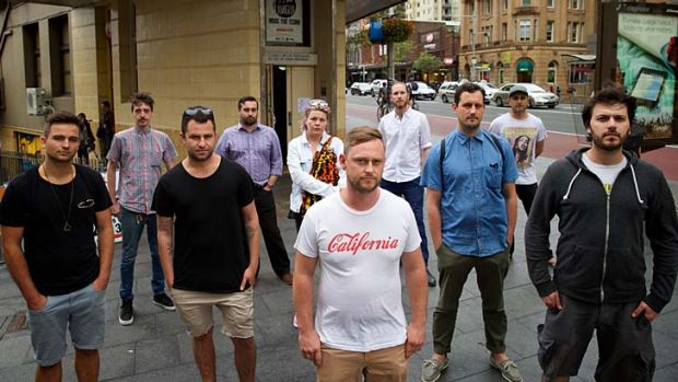 Unfairly punished: Ben Young, marketing director of the Exchange Hotel, (second from left), graphic designer Nergal ...