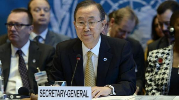 """Can you just wrap up please"" ... the normally mild-mannered United Nations Secretary-General Ban Ki-Moon cut Syria's ..."