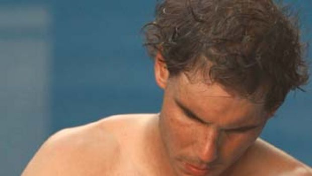 Rafael Nadal: the Spaniard has been forced to play with tape on his hand.