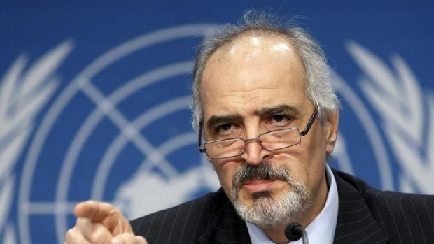 Syrian ambassador to the United Nations  Bashar Ja'afari  speaks during a press conference at the Syrian peace talks.