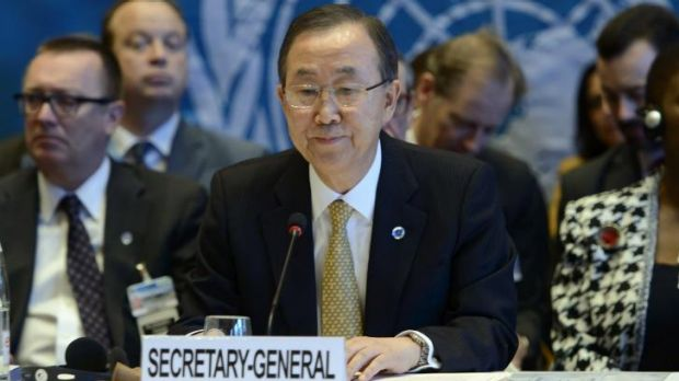 """""""Can you just wrap up please"""" ... the normally mild-mannered United Nations Secretary-General Ban Ki-Moon cut Syria's ..."""