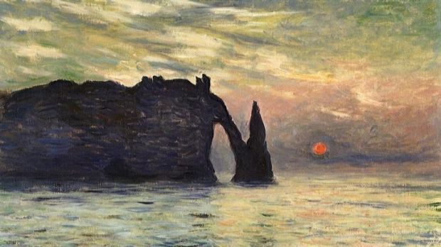 Afternoon delight: <i>The Cliff, Etretat, Sunset</i> is the only Etretat painting by Claude Monet that includes the disc ...