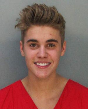 Resisted arrest ... The police booking mug shot of 19-year-old Canadian Justin Bieber.