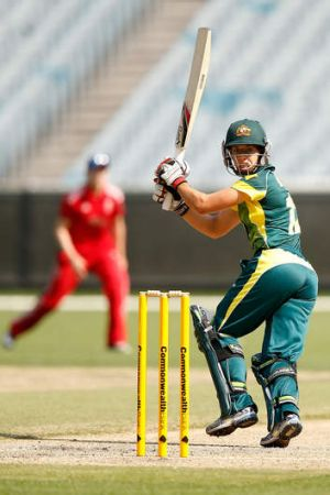 Nicole Bolton gets an inside edge to bring up her century during game 2 of the Australia v England Women's one day ...