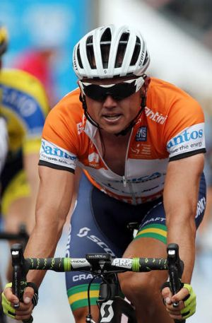 Australian cyclist Simon Gerrans of the Orica GreenEDGE team during Stage Three of the Tour Down Under.