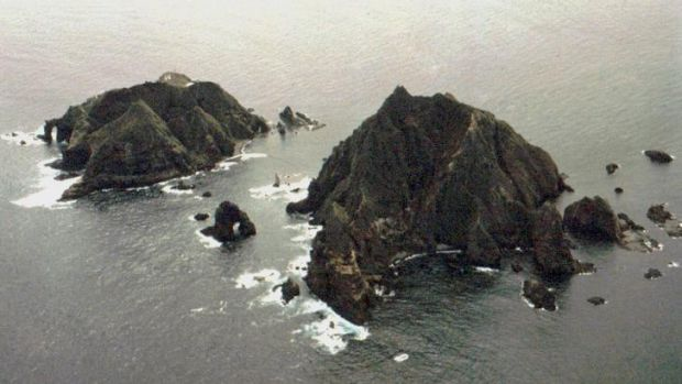 Islands called Tokto in South Korea and Takeshima in Japan are seen in the Sea of Japan, which South Korea calls the ...