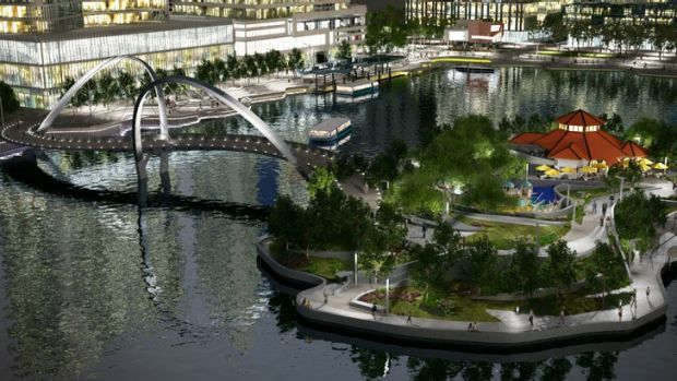 An artist impression of the 110 metre-long Elizabeth Quay pedestrian bridge.
