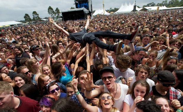 Crowd surfing at Big Day Out.
