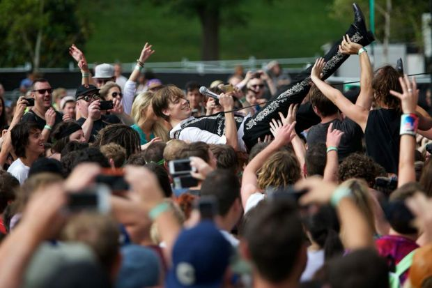Howlin' Pelle Almqvist from the Hives rocks the crowd at the Big Day Out.