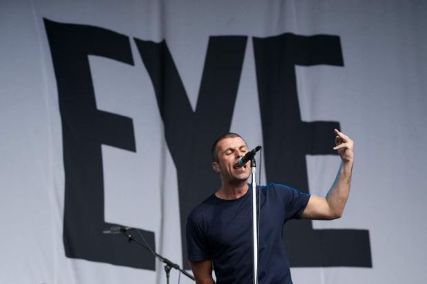 Liam Gallagher from Beady Eye performs at Flemington Racecourse.