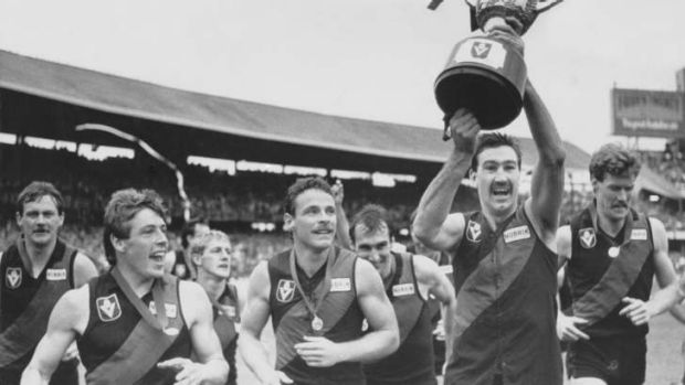 Essendon players celebrate winning the 1985 premiership, having also won it the year before.