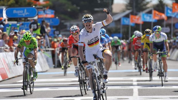 Andrei Greipel of Germany wins the stage during Stage Four of the Tour Down Under.