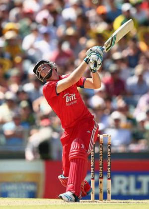 Master class: England's Jos Buttler unleashes another big hit on his way to 71 against Australia at the WACA Ground on ...