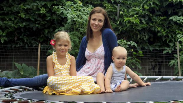 Stretched budget: Phoebe Murphy at home with Charlotte and Archie.