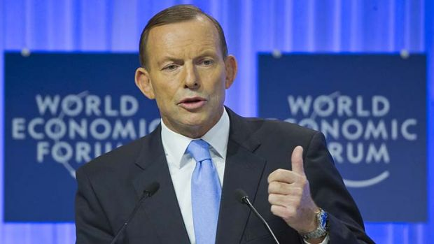 Planning an initiative for the G20: Tony Abbott speaks at the World Economic Forum at Davos in Switzerland on Thursday.