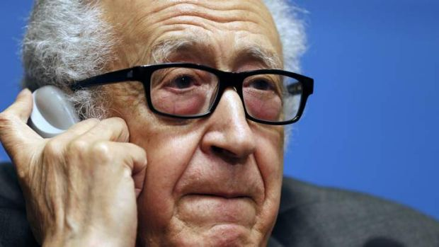 UN Arab League envoy for Syria Lakhdar Brahimi reacts to a question at a news conference at the UN headquarters in Geneva.