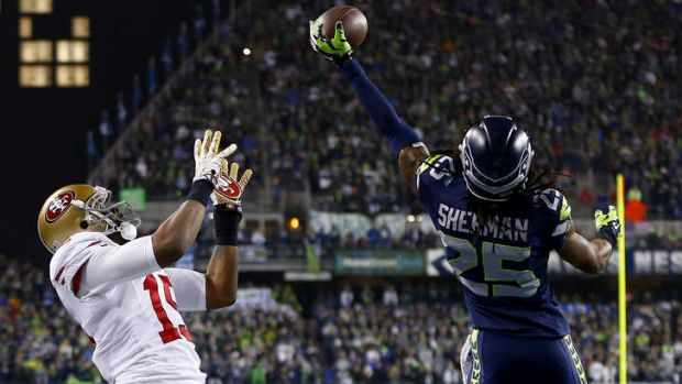 The winning play where Sherman tips the ball away from San Francisco's Michael Crabtree.