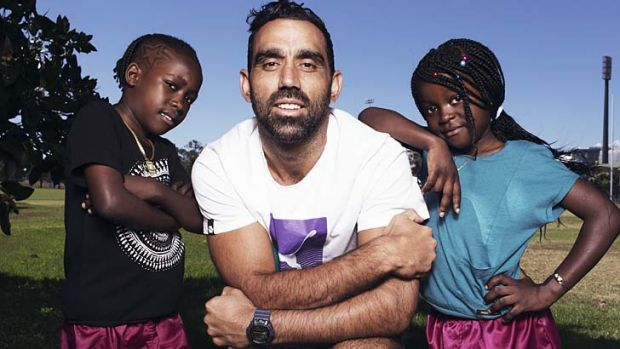 Footy fans: Visca and Jenovic Tubashiku meet Australian of the Year Adam Goodes.