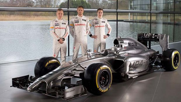Nose job: Drivers (from left) Kevin Magnussen, Jenson Button and Stoffel Vandoorne with the new long-snouted ...