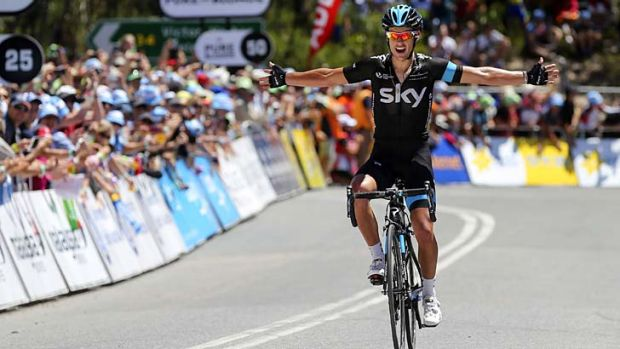 The margin was how big: Richie Porte celebrates his win in stage five of the Tour Down Under on Saturday.