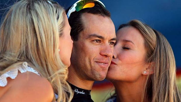 Richie Porte of Team Sky celebrates on the podium.