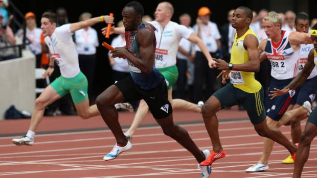 On track: Usain Bolt in the 4x100m relay at last year's Diamond League meeting in London.