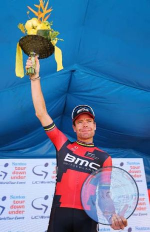 Cadel Evans on stage after finishing second in the overall classification.